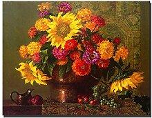 YHZSML Klassische Chrysantheme Blumen Gemälde