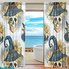 yibaihe Fenster Vorhänge, Gardinen Totenkopf mit