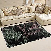 yibaihe leicht bedruckt Bereich Teppich Teppich Fußmatte Dekoratives Blumenmuster Nahtlose Muster Wasserabweisend Leicht zu reinigen für Wohnzimmer Schlafzimmer 79x 51cm (78,7x 50,8cm), 100 % Polyester, multi, 79 x 51 cm (31 x20 in)