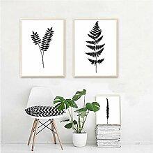 YIBINGLI Nordic Minimalist Schwarz Weiß Pflanze