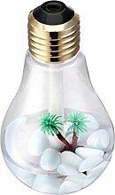 Yidarton USB Birne Luftbefeuchter 400ml Micro Personal LED Bunte Nachtlicht Luftdiffusor Luftreiniger Zerstauber Diffusor mit 7 Farbwechsel Nachtlicht für Office Home Schlafzimmer Wohnzimmer (Gold)