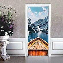 YIER LIFE™ 3D Türaufkleber Bergsee Boot blaue