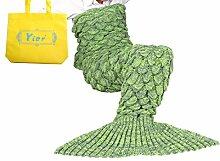 Yier® Meerjungfrau Endstück Häkeldecke für Erwachsen Teens Jugendliche Wohnzimmer Schlafzimmer Sofa Super weiche Skalen Decken Schlafsack-Gras Grün