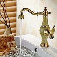 YiHang @ Ganze Kupfer Jade Kälte Drehen Bad Küche Waschbecken Mischbatterie,A