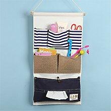 yiliay Leinen Baumwolle Wand Aufbewahrungstasche Schrank Tür Aufhängen Taschen Organzier mit Gewebe box-blue