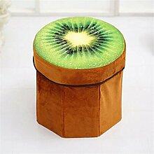 Yiliay Niedlich Obst Form Aufbewahrungsbox Ottomane Faltbar Sitzhocker Kinder Sitzwürfel Deckel Sitztruhe-Kiwi