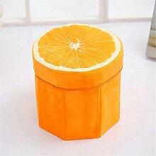 Yiliay Niedlich Obst Form Aufbewahrungsbox Ottomane Faltbar Sitzhocker Kinder Sitzwürfel Deckel Sitztruhe-Orange
