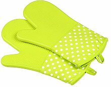 yiliay Polka Dot Muster Hitzebeständig Silikon Ofenhandschuhe Grill Baumwolle Ofen Handschuhe für cooking-green