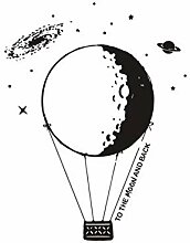 YIMING Creative Moon Heißluftballon Wandaufkleber