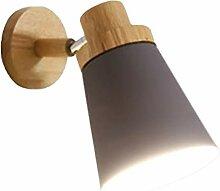 yin Wandleuchte Holzsockel Nachttischleuchte