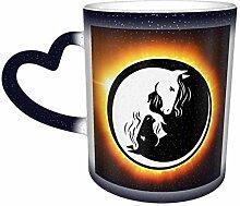 Yin Yang Pferde Hitzeempfindliche Kaffee Magic