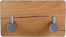 yingq 3m Klebstoff Haken Handtuchhalter Holz & Edelstahl Ultra Strong Birke Haken Kleiderbügel Heavy Duty Holz Stick Wand Haken - muster 2