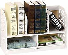 Yinmake Schreibtisch-Regal mit dekorativen Details, Organizer, ideal für Zuhause, Küche, Büro, Schlafzimmer, Badezimmer, weiß, weiß, Baroque L
