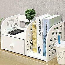 Yinmake Schreibtisch-Regal mit dekorativen Details, Organizer, ideal für Zuhause, Küche, Büro, Schlafzimmer, Badezimmer, weiß, weiß, 2 Units