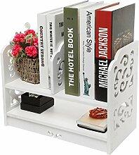Yinmake Schreibtisch-Regal mit dekorativen Details, Organizer, ideal für Zuhause, Küche, Büro, Schlafzimmer, Badezimmer, weiß, weiß, 2 Tier/17 inch