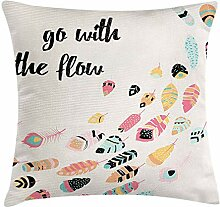 Yinorz Feather Throw Pillow Cushion Cover, Go with