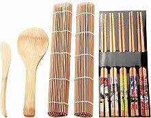 Yinuoday 13-teiliges Sushi-Set aus Bambus,