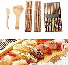 Yinuoday 13-teiliges Sushi-Set, Bambus-Sushi-Set,
