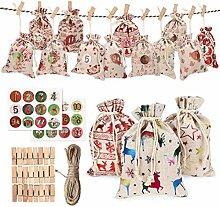 Yiphates Weihnachts-Adventskalender-Tüten, Tüten