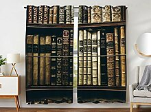 YISUMEI - Gardinen Blcikdicht - Bücherregal altes
