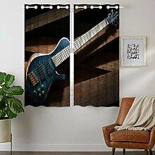 YISUMEI - Gardinen Blcikdicht - E Gitarre - 160 x