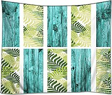 YISUMEI Kissenbezug 50x50 cm Home Decor Sofa Werfen Kissenbezüge Pillowcases laue hölzerne antike Bauholz-Möbel Blätter Palme natürlichen Frühling Sommer