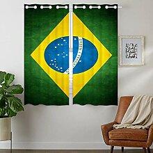 YISUMEI - Vorhang Blcikdicht - Brasilien Flagge -