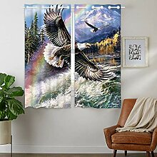YISUMEI - Vorhang Blcikdicht - Eagle Schneefront -