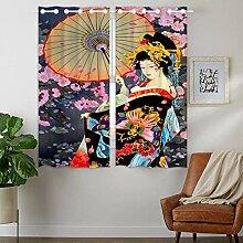 YISUMEI - Vorhang Blcikdicht - Japanisches Kunst