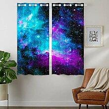 YISUMEI - Vorhang Blcikdicht - Nebel Galaxy Blue -