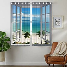 YISUMEI - Vorhang Blcikdicht - Strandfenster - 160