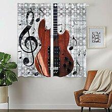 YISUMEI Vorhang Blickdicht Muster Musik Note Bass