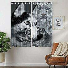 YISUMEI Vorhang Blickdicht Muster Tiger Wolf