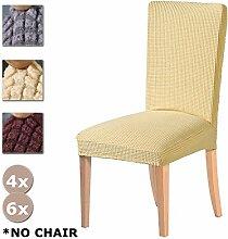 YISUN Essen Stuhlhussen Stretch Stuhl, hochwertig, abnehmbar, waschbar und Couch Wohnzimmer Garten Stuhl Schutzhülle Sitzbezüge für Esszimmerstühle/Stuhl, 6Stück, beige, 6 PCS
