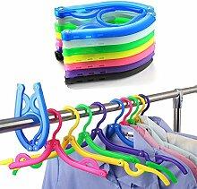 Yiuswoy Klappbar Kunststoff Anzug Kleiderbügel Garderobe Kleidung Anti Rutsch Kleiderbügel für Reisen Camping Satz von 10 - Bunte