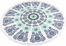 Yiuswoy Runde Strand Handtuch Tischdecke Dekor Wandbehang Mikrofaser Strandtuch für Outdoor Sandstrand Und Innen Dekoration - Blau Grün