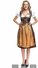Yiwa Oktoberfest Bier Festival Kleid Frauen Klassiker Stilvolles Dirndl Kleid 3pcs Anzug f¨¹r Bayerische Oktoberfest Kost¨¹me gold L