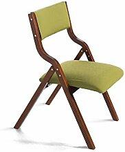YIXINY Esszimmerstühle Klappstuhl Massivholz Stoff Einfach Und Modern Haushalt Esszimmerstuhl Rückenlehne Stuhl Computer Stuhl Speicherplatz Sparen Grün, Rot ( Farbe : Grün )