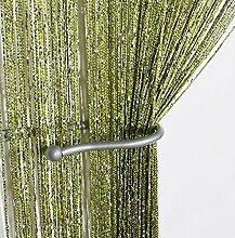 Yiyida 1pcs Glitter String Vorhang Panel, 100 % Polyester, 2.9m x 2.9m Tür Fenster Home Decor ,Grün