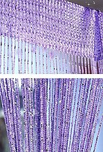 Yiyida 1pcs Glitter String Vorhang Panel, 100 % Polyester, 2.9m x 2.9m Tür Fenster Home Decor ,Lila