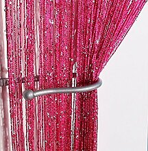 Yiyida 1pcs Glitter String Vorhang Panel, 100 % Polyester, 2.9m x 2.9m T¨¹r Fenster Home Decor ,Rosa