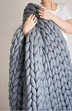 Yiyida Überwurf-Decke aus Klobiger Merinowolle,