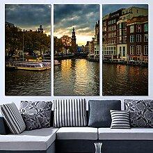 yiyitop 3 Panels leinwand Kunst Amsterdam Haus