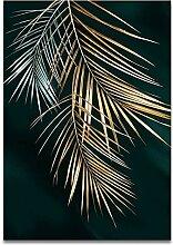 yiyitop Abstrakte goldene Pflanze Blatt Bild