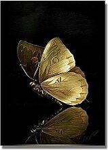 yiyitop Abstrakte goldene Schmetterling Leinwand