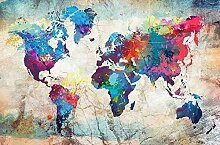 yiyitop Farbe Weltkarte Leinwand Malerei drucken