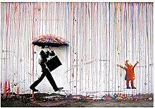 yiyitop Kunst Graffiti Bunte Regenwand Leinwand
