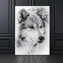 yiyitop Schwarzweiss-Wolfplakat Leinwandmalerei