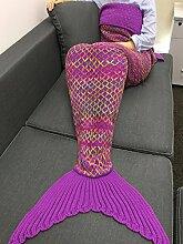 YiZYiF Meerjungfrau Flosse Decke Handgemachte Gestrickte Schlafsack Wohnzimmer Kuscheldecke Decke Kostüm für Erwachsene und Kinder in Größe S, M, L Fuchsie L