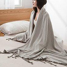 YJ Decke Nordic Fringed Gestrickte Decke Wolldecke Büro Klimatisierte Mittagspause Schal Decke Sofa Decke Grau Khaki 120x180cm ( Farbe : Grau )